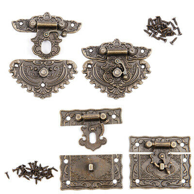 Pair of Vintage Style Latch Wooden Box Hasp Pad Chest Lock Bronze Tone Antique