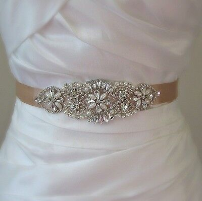 Hot Rhinestone Bridal Sash Crystal Wedding Sash Bead Belt with Satin Ribbon