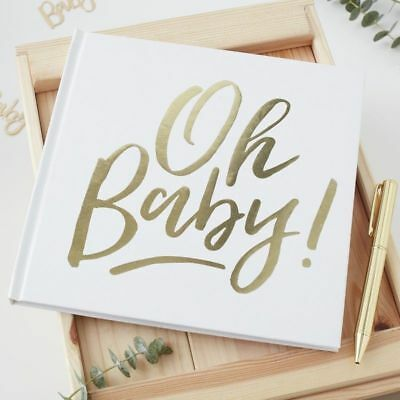 White Baby Shower Advice  / Guest Book - Oh Baby! Gold Foiled Ginger Ray