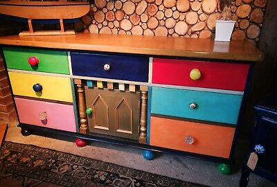 Antique multi colored Sideboard ( Solid Pine)