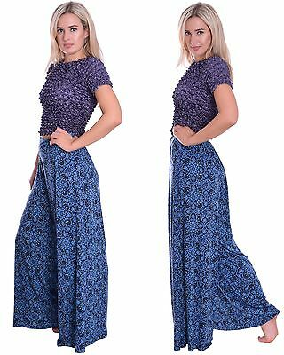 Wide Leg Trousers Long Casual Palazzo Style Pull Up Elastic Waist Black Blue