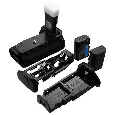 BG-E14 Battery Grip for Canon EOS 70D/80D Camera + 2-Pack 2600mAh LP-E6 Battery