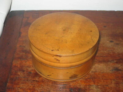 Lovely Old Blond Wood Turned Wooden Box & Lid Treen