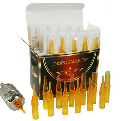 New Gold Disposable Sterile Tattoo Nozzle Tips Needle Tube 5RT 50pcs/Box