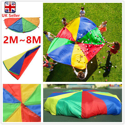2M~8M Kids Child Play Rainbow Multi-color Parachute Outdoor Game Exercise Toys