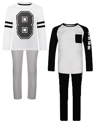 Boys Pyjamas Ex Uk Store Long Sleeve Long Bottoms Rebel Pj Sets Night Wear New