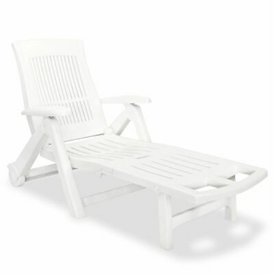 vidaXL Sunlounger with Footrest Plastic White Outdoor Patio Recliner Chair