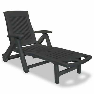 vidaXL Sunlounger with Footrest Plastic Anthracite Outdoor Recliner Chair