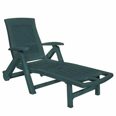 vidaXL Sunlounger with Footrest Plastic Green Outdoor Recliner Chair Sunbed