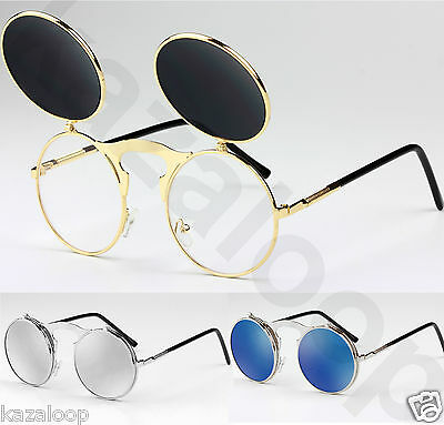 New Round Steampunk Flip up Sunglasses Spring hinges