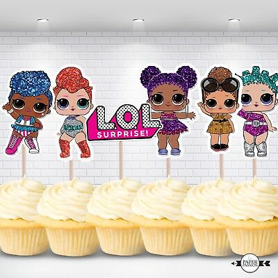 12 Lol Dolls  Cucake Toppers, Birthday Toppers,girls Cupcake Toppers