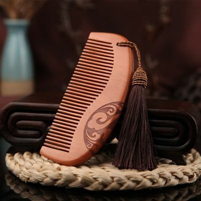 Fine Carved Sandalwood Peach Tooth Wide No-static Wooden Comb Hair Massage