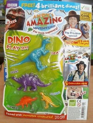 Andy's Amazing Adventures magazine #29 2018 + 4 Dino Play Set & 5 Cards