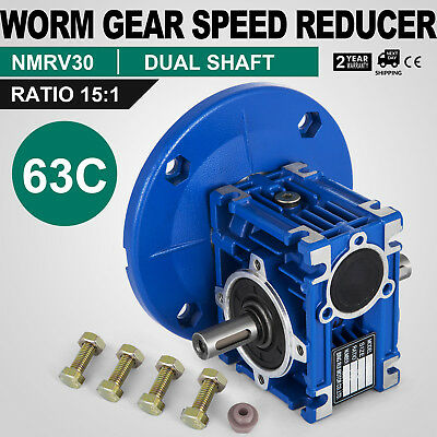 Worm Gear 15:1 63C Speed Reducer Gearbox Dual Output Shaft HQ 0.38HP Update
