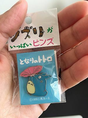 GENUINE MY NEIGHBOUR TOTORO Pin Badge Blue with Flora GHIBLI MUSEUM Sydney Stock