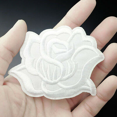 White Rose Size:6x7cm Iron On/Sew Patch Embroidered Badge Bag Applique