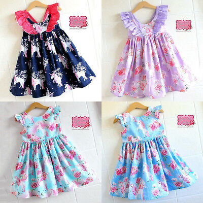 AU Toddler Baby Girls Unicorn Floral Party Pageant Tutu Dress Sundress Clothes