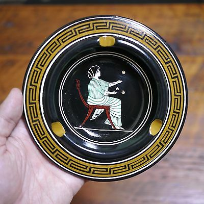Vintage Retro Mid Century Handmade Classical Greek Painted Pottery Ashtray Dish