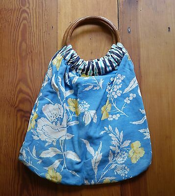 Vintage Cotton Reversible Floral Striped Maple Wood Handle Bermuda Hobo Purse