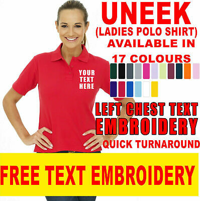 Uneek Ladies Polo Shirt Size 8 to 22 Women Casual Tee Classic Fit Work UC106
