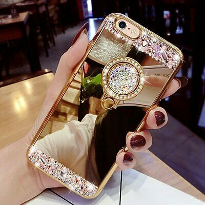 Luxury Bling Diamond Crystal Miroor Case Cover For Samsung S6 S7 Edge S9 A8 2018