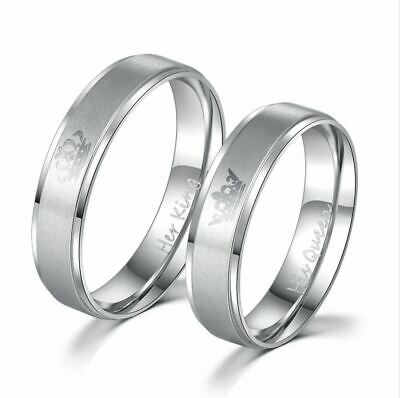 King and Queen Stainless Steel Ring - His and Hers Couple Wedding Band Set Anniv