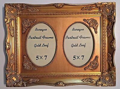 Vintage Baroque Ornate Gilt Gold Double Oval Wood Picture Frame 5 x 7