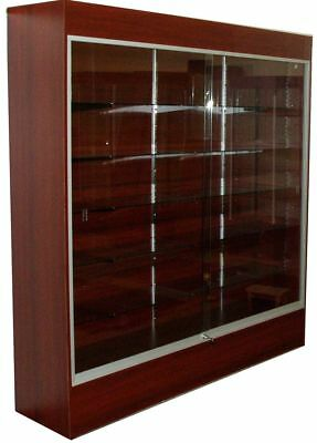 Cherry Wall Tower Display Case with Sliding Glass Doors, Locks, and Lights