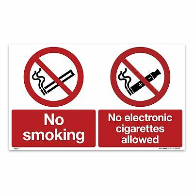No smoking, no e-cigares Sign - 1mm Rigid Plastic Sign - Prohibition Safety