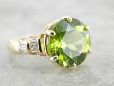 Collectors Quality Peridot and Baguette Diamond Ring
