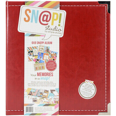 "Simple Stories SNAP6X8L-4035 Sn@p! Leather Binder 6""X8""-Red"