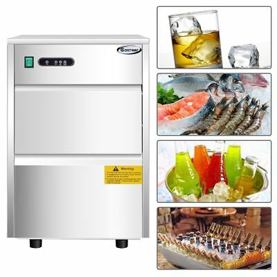 Ice Maker Stainless Commercial Ice Cube Bullet Freestanding Machine 58lbs/24h