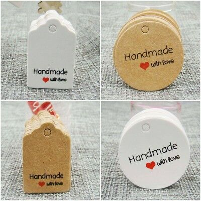 Handmade With Love Hang Tag Craft Gift Tags Choice Designs/Colour