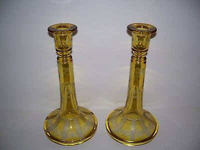 "Antique Elegant Amber/Yellow  Etched Leaf  Candlesticks Holder 1 Pair 9"" Tall"