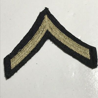 WWII 1940s US Army Khaki Embroider Stripe Twill PFC Private First Class Chevron