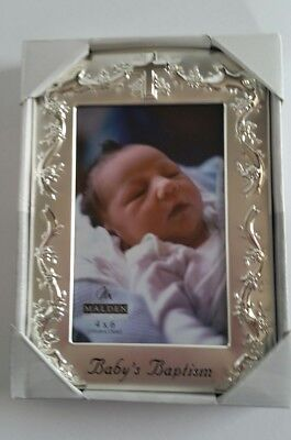 Malden Designs Picture Frame Baby Baptism Silver Plated Two-Tone 4x6 Photo Gift