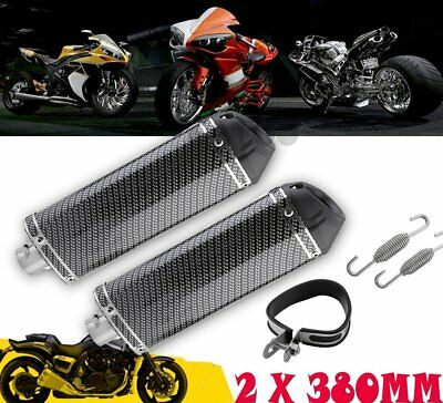 Pair 38mm Motorcycle Exhaust Muffler Pipe w/ Removable Silencer Carbon Fiber YO