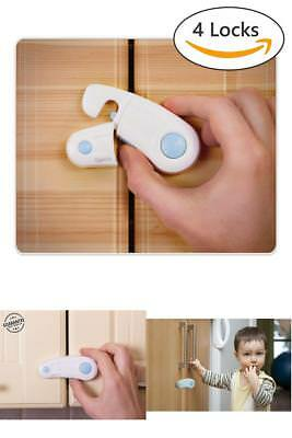 4 Pack Child Safety Cabinet Locks, Baby Safety Locks Kit with 3M Adhesive Tape