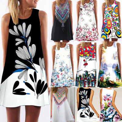 Women Sleeveless Summer Boho Printed Beach Casual Loose Mini Shirt Beach Dress