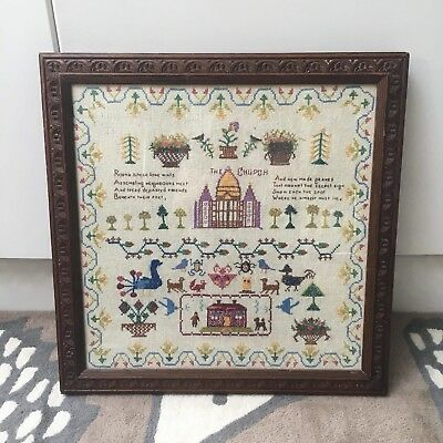 Antique Large  sampler With Vintage Frame Very Attractive