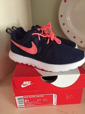 2dfbcb34a1fd NIB NIKE ROSHE One Size 2 Youth Girls Shoes Binary Blue Lava Glow ...