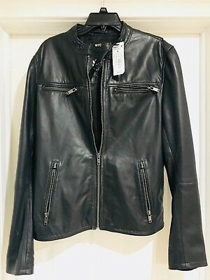 Superdry Leather Jacket Men's Classic Real Hero Biker- Black-  SIZE (XL) NEW