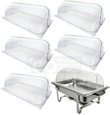 6 PACK Full Size Roll Top Chafing Dish Clear Plastic Bakery Pan Display Cover
