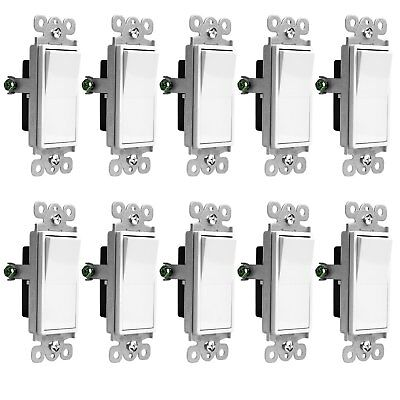 Decorator 15 Amp Rocker / Paddle Switch Single Pole 91150-W White (10 Pack)