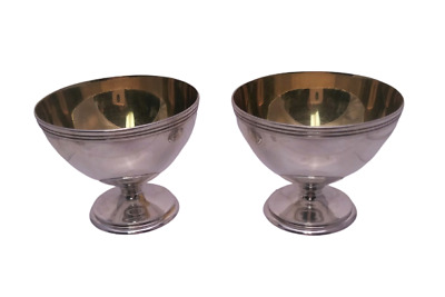 Two Large Tiffany & Co. Salt Cellars in Sterling Silver With Gold Wash