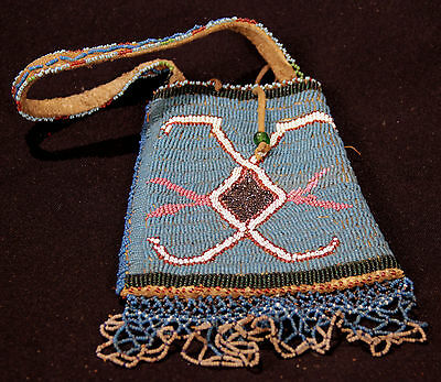 Plateau Buffalo Hide Beaded Pouch with Handle c.1890s collected Montana