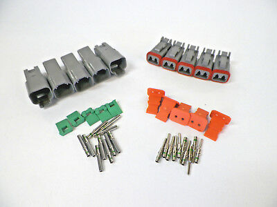 5 sets Deutsch DT 2-Pin Connectors 14-16-18 ga AWG Solid Contacts