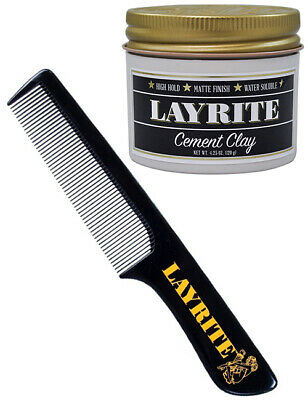 Layrite Cement Matt Clay Matte Finish Haircare 4oz & Hair Styling Comb Gift Set