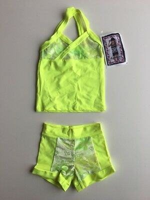 Lexi Luu Girls XS/ Neon Yellow Floral Long Top And Booty Short Set