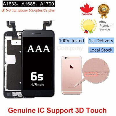 For iPhone 6S Replacement Digitizer LCD Touch Screen Black Home Button Camera CA